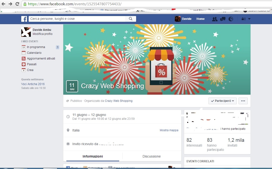 Crazi web shopping evento facebook