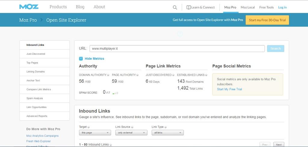 opensite explorer come tool per analisi sito