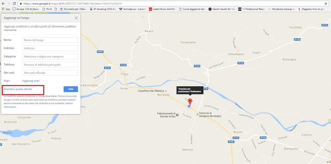 aggiungere luogo su Google Maps
