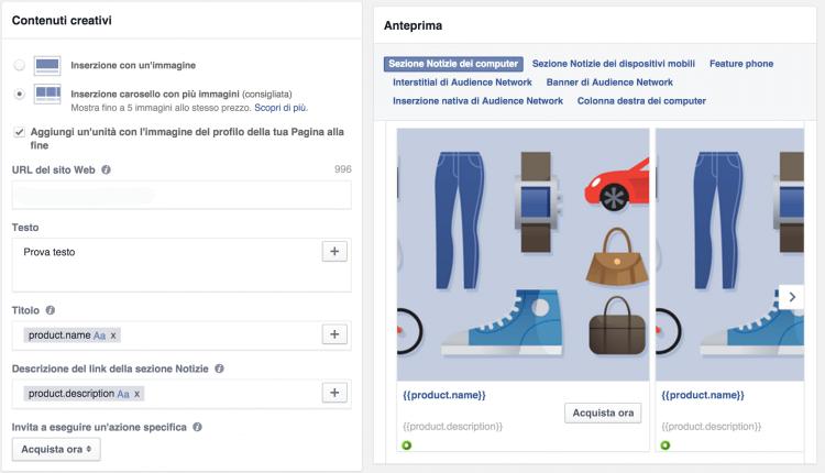 inserzioni dinamiche novità facebook ads