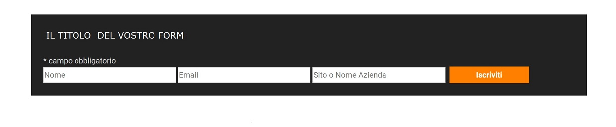 mailchimp form orizzontale