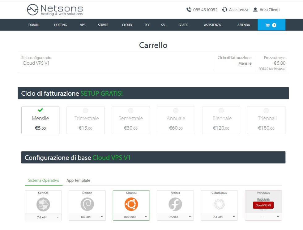 configurazione VPS su Netsons